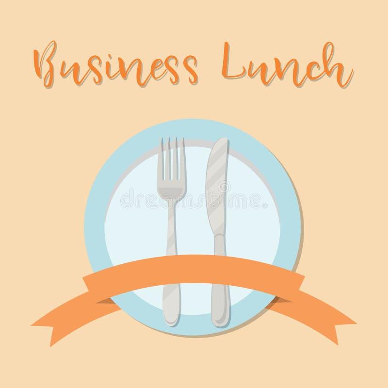 Concepto del almuerzo de negocios Placa con una bifurcación, un cuchillo y una cinta en un fondo anaranjado stock de ilustración