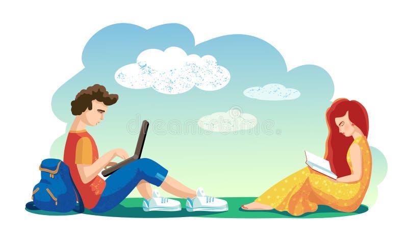 Concepto del amor Vector Los estudiantes de los amantes junto pasan el tiempo libre en aire abierto libro de lectura de la muchac libre illustration