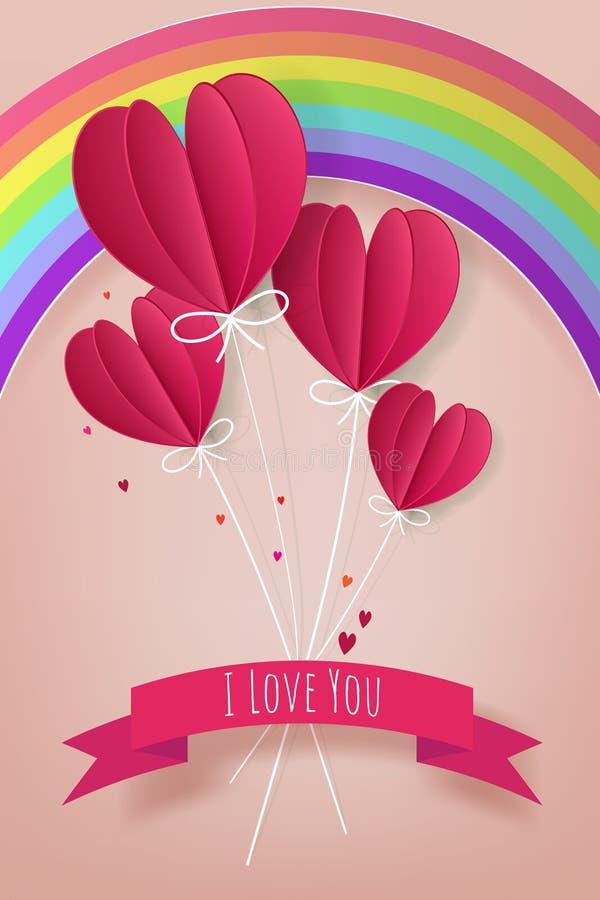 Concepto del amor y de Valentine Day, sha de papel del corazón del globo del aire caliente stock de ilustración