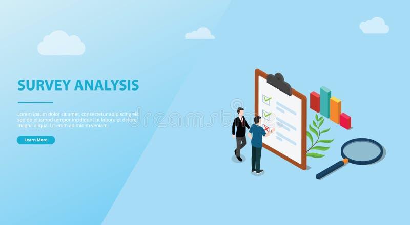 Concepto del análisis de datos de la encuesta para el espacio de la bandera de la plantilla de la página web - vector stock de ilustración