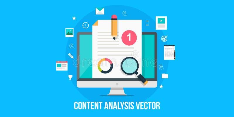 Concepto del análisis del contenido - bandera plana del web del diseño libre illustration