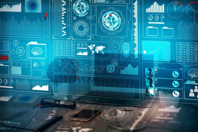 Concepto del Analytics, de las finanzas y de la innovación imagen de archivo