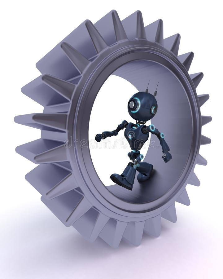 Concepto del androide y de los engranajes libre illustration