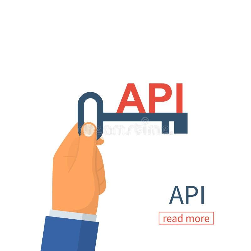 Concepto del API Llave ilustración del vector