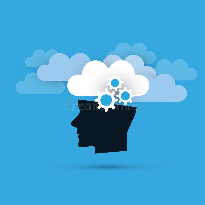 Concepto del aprendizaje de máquina, de la inteligencia artificial y de diseño de redes con las nubes y la cabeza humana stock de ilustración