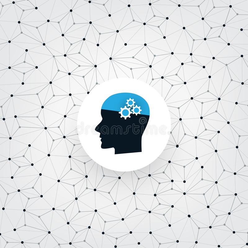 Concepto del aprendizaje de máquina, de la inteligencia artificial y de diseño de redes con Wireframe y la cabeza humana libre illustration