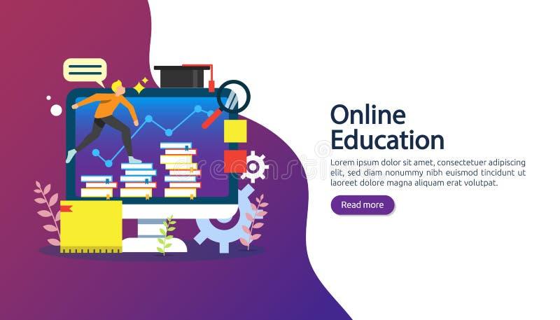Concepto del aprendizaje electrónico con el ordenador, el libro y el carácter minúsculo de la gente en proceso del estudio EBook  stock de ilustración