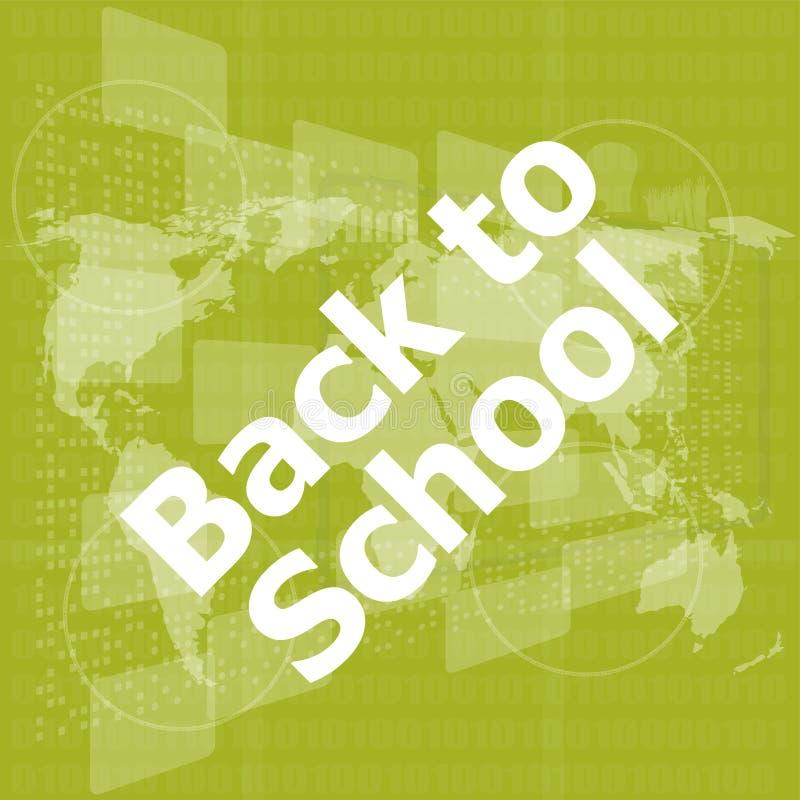 Concepto del aprendizaje electrónico, de nuevo a palabras de la escuela en la pantalla táctil digital stock de ilustración