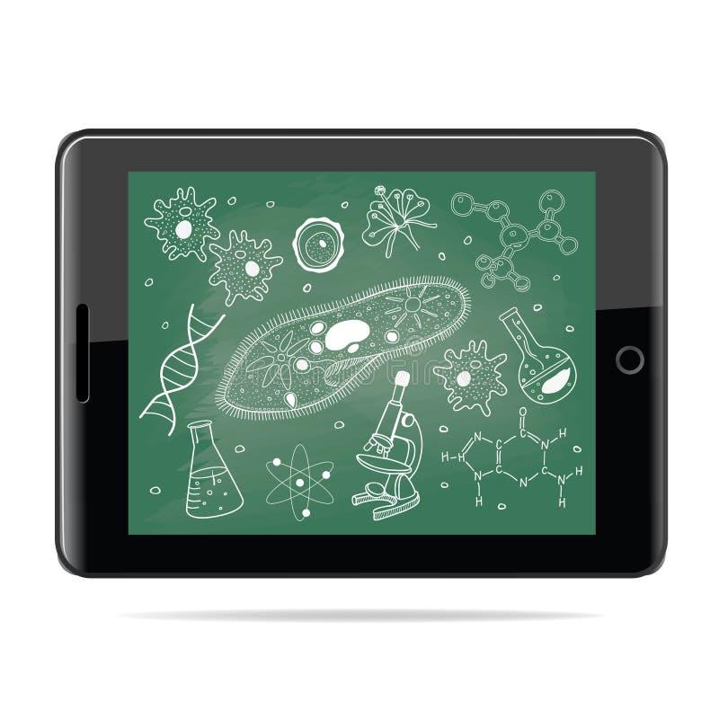 Concepto del aprendizaje electrónico Tableta con bosquejos de la biología en consejo escolar libre illustration