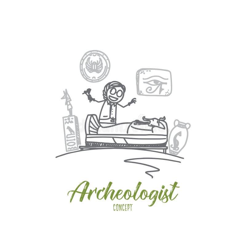 Concepto del arqueólogo Vector aislado dibujado mano stock de ilustración