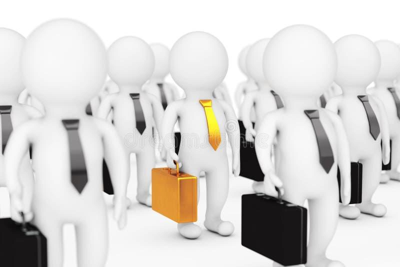 Concepto del arranque de cinta de personas Persona muchos 3d con una con la caja de oro libre illustration
