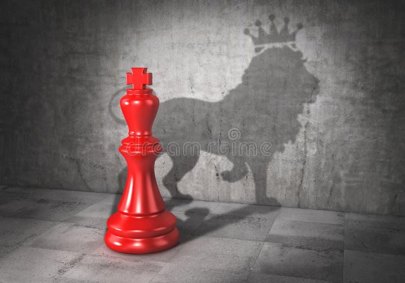 Concepto del arranque de cinta headman El rey del ajedrez echó la sombra en la forma de león con la corona stock de ilustración