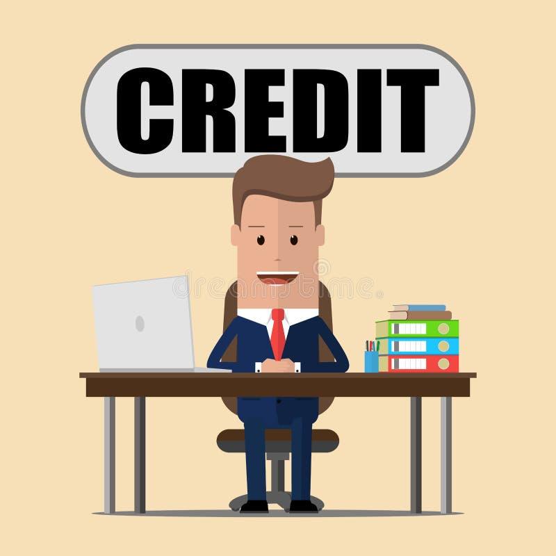 Concepto del asunto Carácter sonriente del encargado del crédito que se sienta en la oficina del banco Ilustración del vector libre illustration