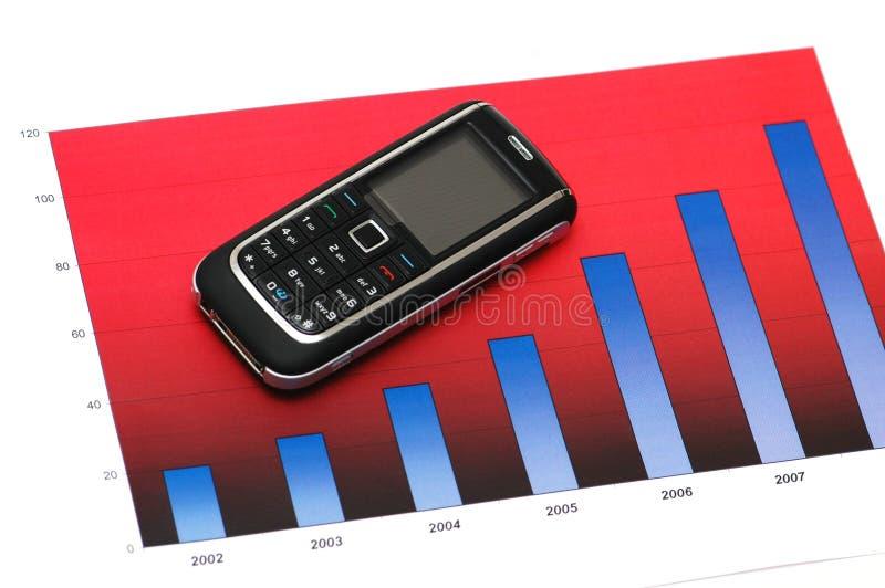 Concepto del asunto con el teléfono móvil sobre la carta de barra fotografía de archivo