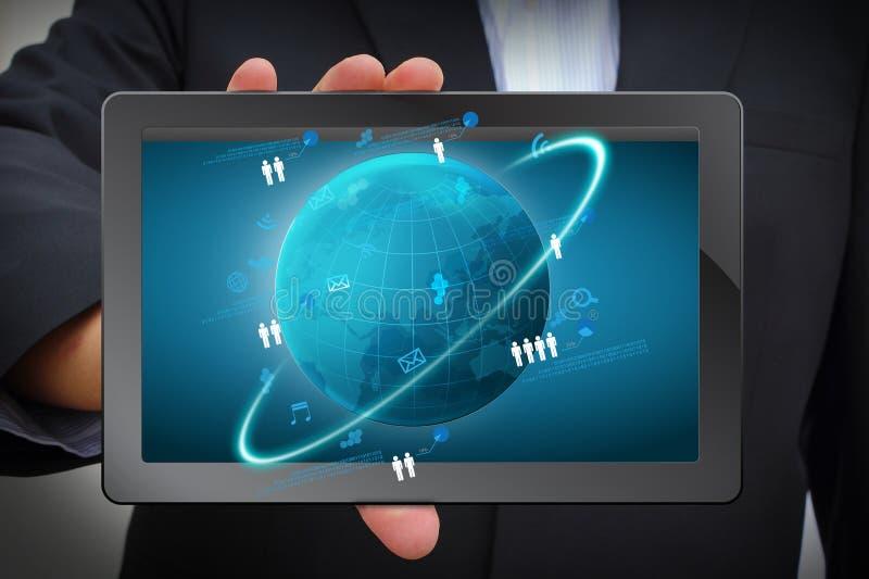 Concepto del asunto de la red global, información de proceso de la red técnica stock de ilustración