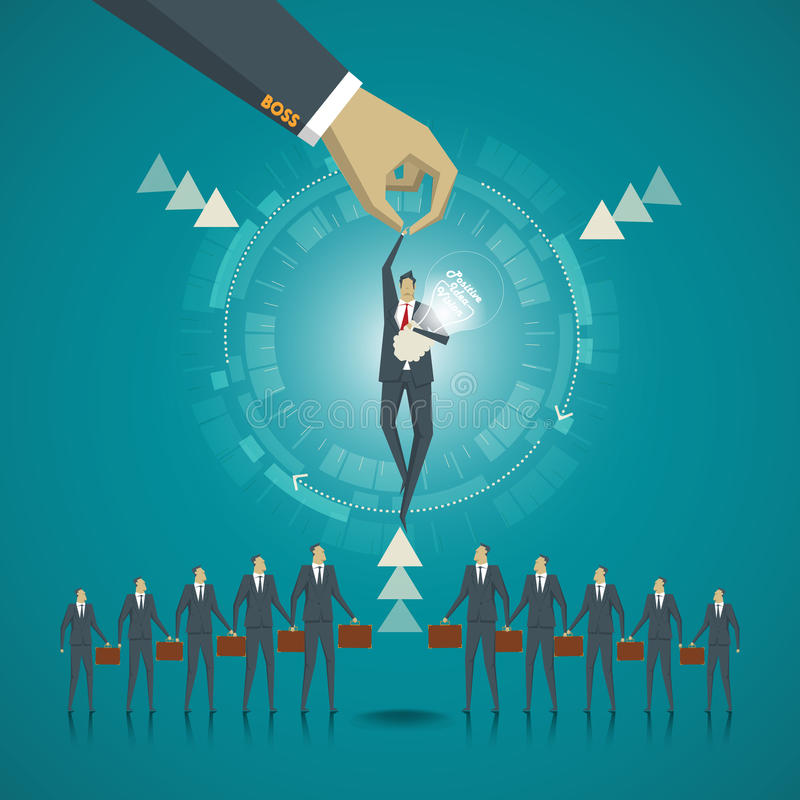 Concepto del asunto Hombre de negocios elegido por la dirección porque t ilustración del vector
