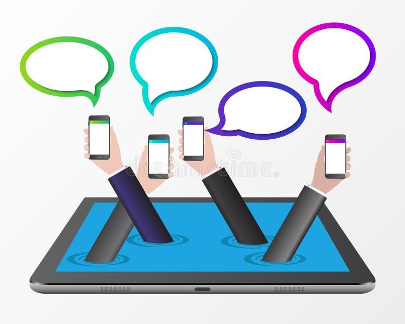 Concepto del asunto Manos con los teléfonos y las burbujas del discurso stock de ilustración