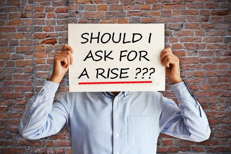 """Concepto del aumento salarial o de la negociación con el empleado que pide el """"should que pido un  del rise†imagen de archivo libre de regalías"""