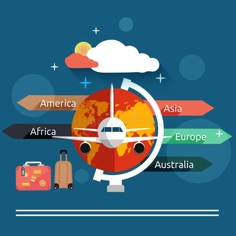 Concepto del aviador en diseño plano ilustración del vector