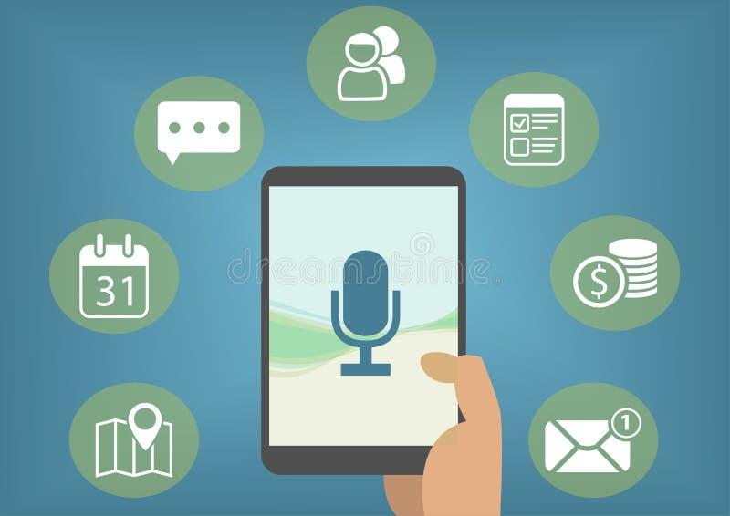 Concepto del ayudante personal de Digitaces con el reconocimiento de voz para recuperar los correos electrónicos, mensajes inmedi libre illustration