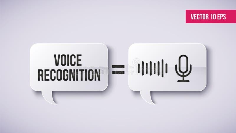 Concepto del ayudante personal y del reconocimiento vocal en una burbuja del discurso Concepto de tecnologías inteligentes de sou ilustración del vector