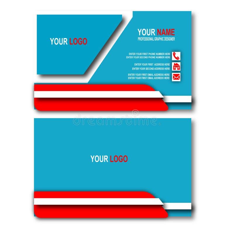 Concepto del azul de la tarjeta de visita ilustración del vector