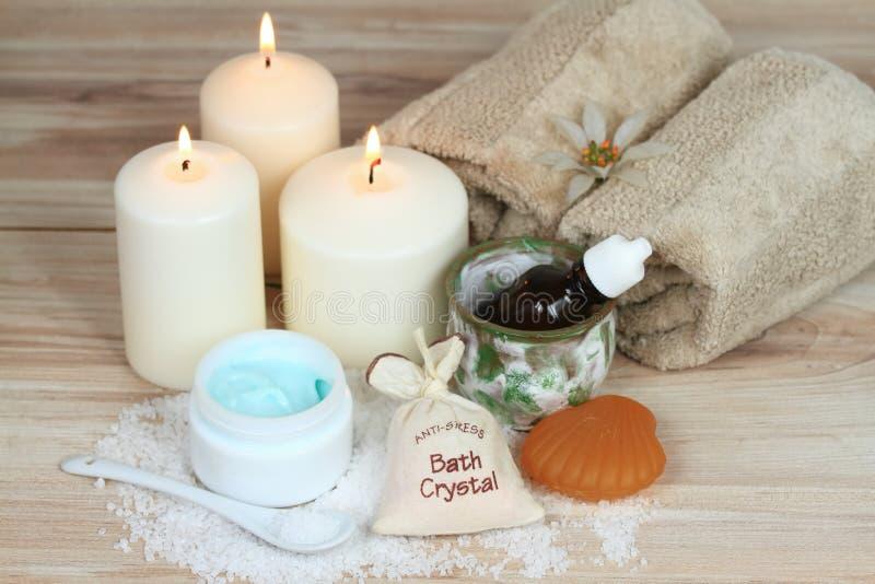 Concepto del balneario con las velas imagen de archivo libre de regalías