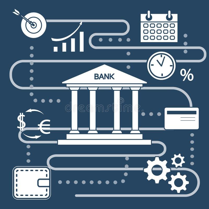 Concepto del banco Finanzas, inversión del dinero L?nea icono stock de ilustración