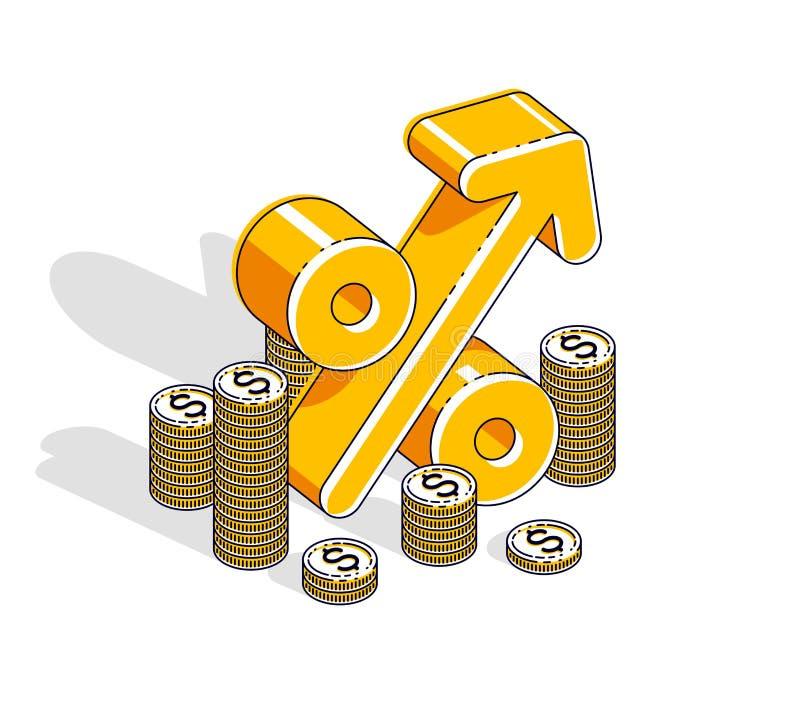 Concepto del beneficio de la renta del porcentaje, symbo dimensional del por ciento stock de ilustración