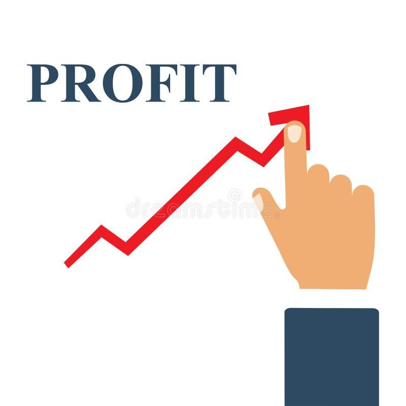 Concepto del beneficio, gráfico de negocio cada vez mayor El hombre de negocios maneja el gráfico financiero del crecimiento ilustración del vector