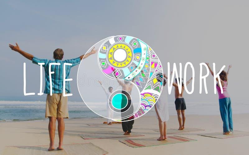 Concepto del bienestar de la estabilidad de la balanza del trabajo de vida fotos de archivo libres de regalías