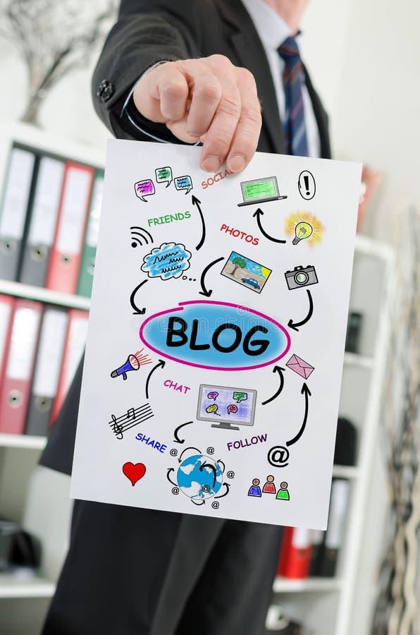 Concepto del blog mostrado por un hombre de negocios foto de archivo libre de regalías