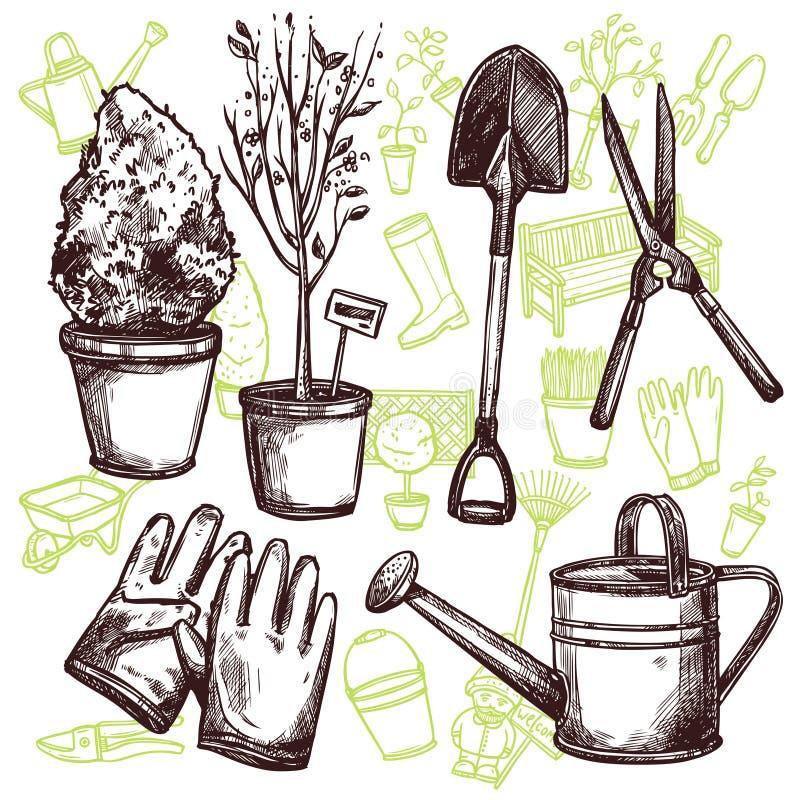 Concepto del bosquejo de los utensilios de jardinería ilustración del vector
