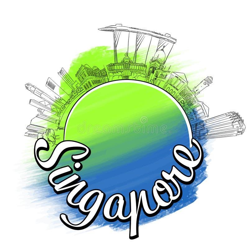 Concepto del bosquejo del logotipo del viaje de Singapur ilustración del vector