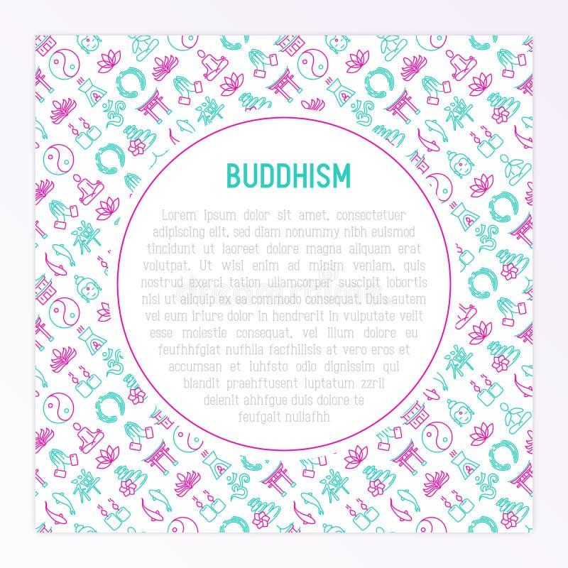 Concepto del budismo con la línea fina iconos stock de ilustración