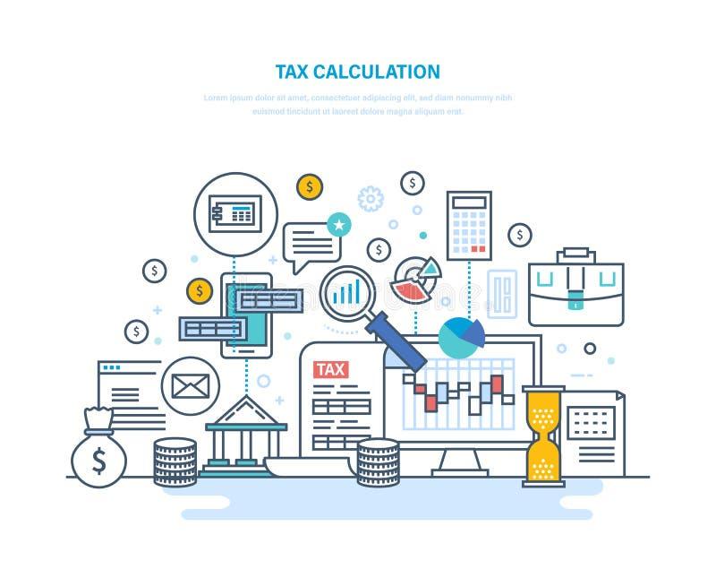 Concepto del cálculo del impuesto Considerando, análisis financiero, contabilidad, auditoría económica del negocio stock de ilustración