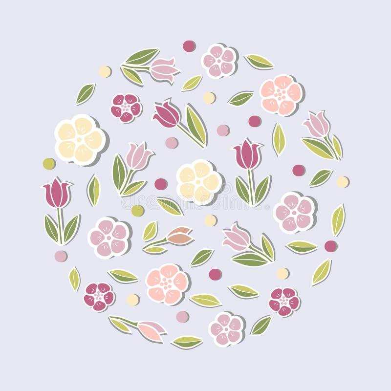 Concepto del círculo con las flores rosadas stock de ilustración