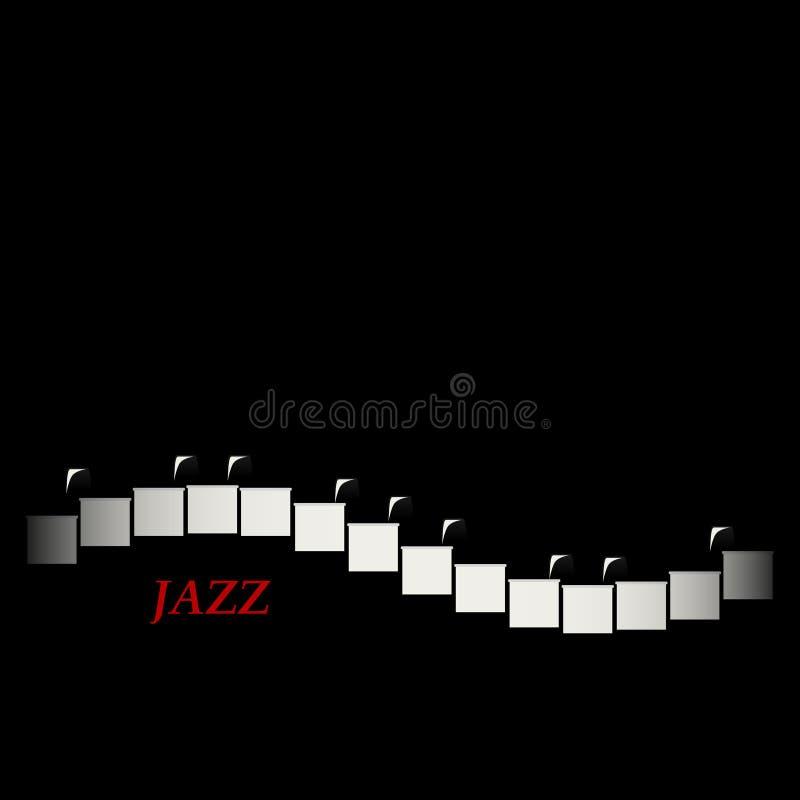 Concepto del café del jazz Teclado de piano abstracto Invitación creativa musical ilustración del vector