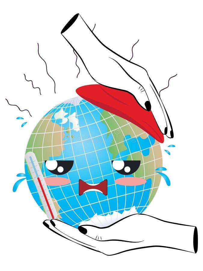 Concepto del calentamiento del planeta ilustración del vector