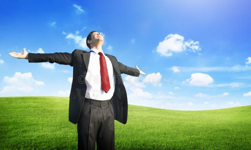 Concepto del campo de Business Success Happiness del hombre de negocios imagenes de archivo