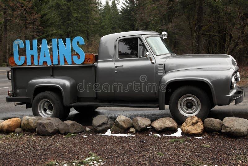 Concepto del carro del asunto que hace publicidad de encadenamientos de neumático fotografía de archivo