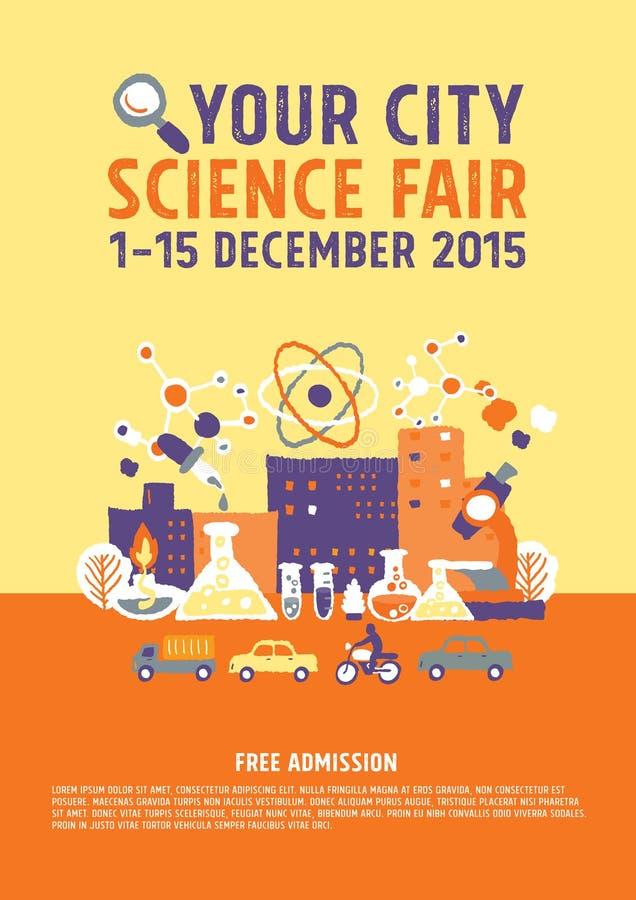 Concepto del cartel de la feria de ciencia stock de ilustración