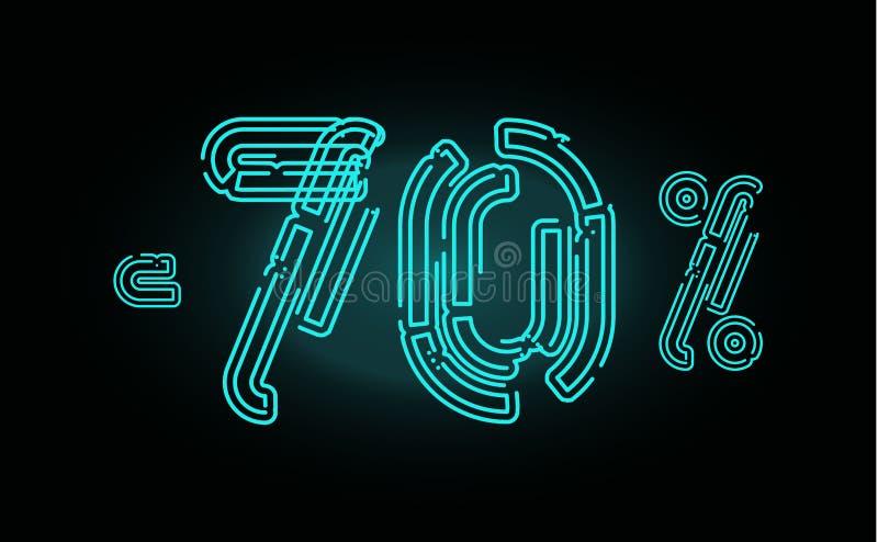 Concepto del cartel de 70 ventas Plantilla del diseño de la bandera del descuento del setenta por ciento para comercializar, el n stock de ilustración