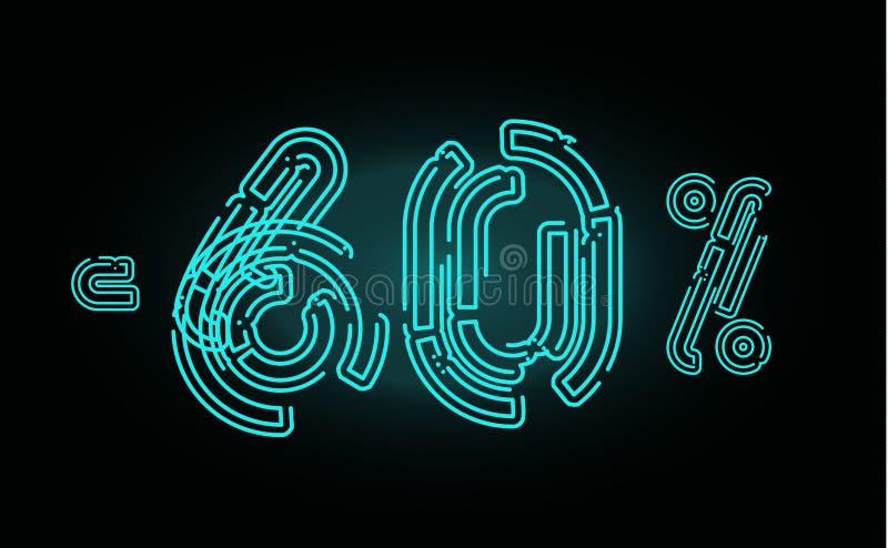 Concepto del cartel de 60 ventas Sesenta plantillas del diseño de la bandera del descuento del por ciento para comercializar, el  stock de ilustración