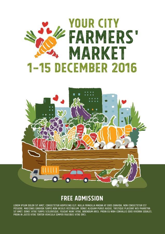 Concepto del cartel del mercado de los granjeros stock de ilustración