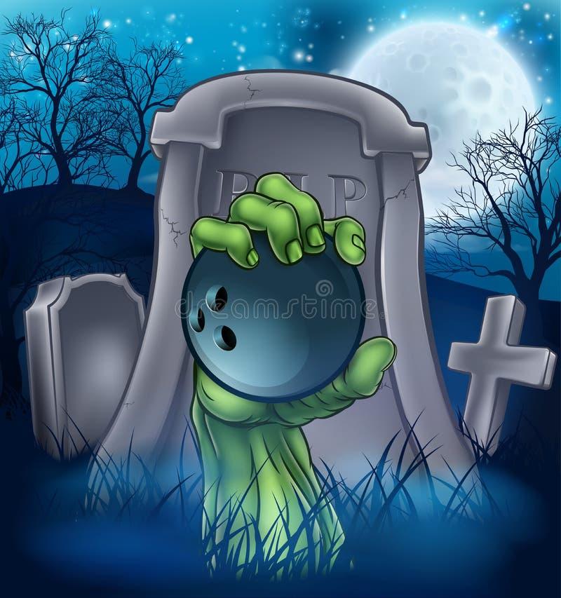 Concepto del cementerio de Halloween del zombi de los bolos libre illustration