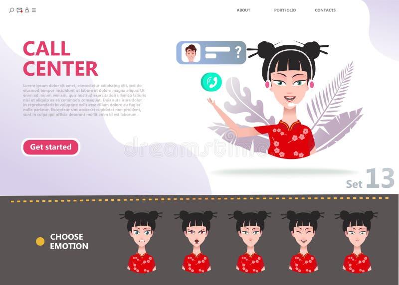 Concepto del centro de atenci?n telef?nica Mujer asiática china del personaje de dibujos animados ilustración del vector