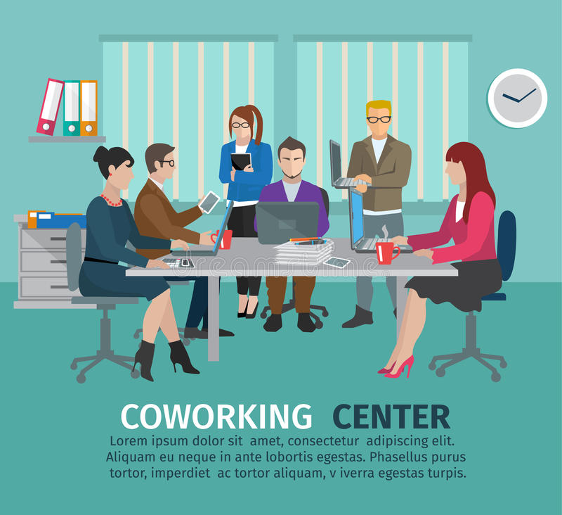 Concepto del centro de Coworking libre illustration