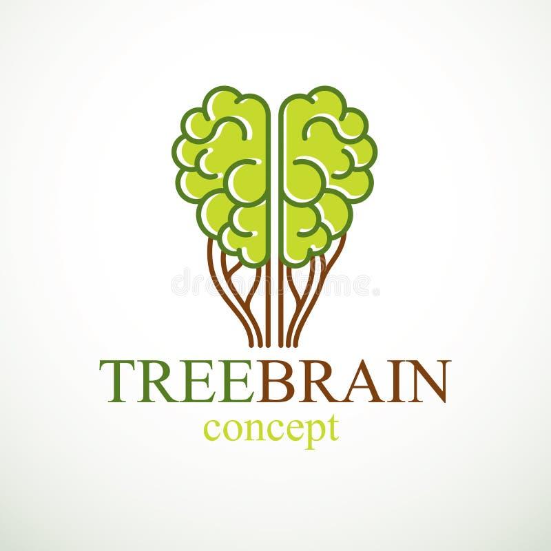 Concepto del cerebro del árbol, la sabiduría de la naturaleza, evolución inteligente stock de ilustración