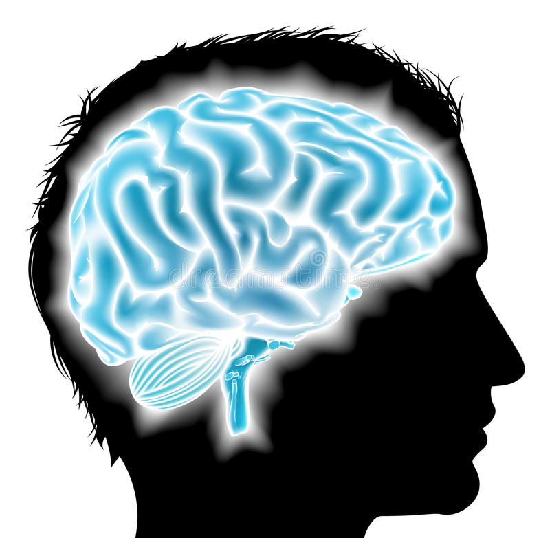 Concepto del cerebro del hombre que brilla intensamente ilustración del vector